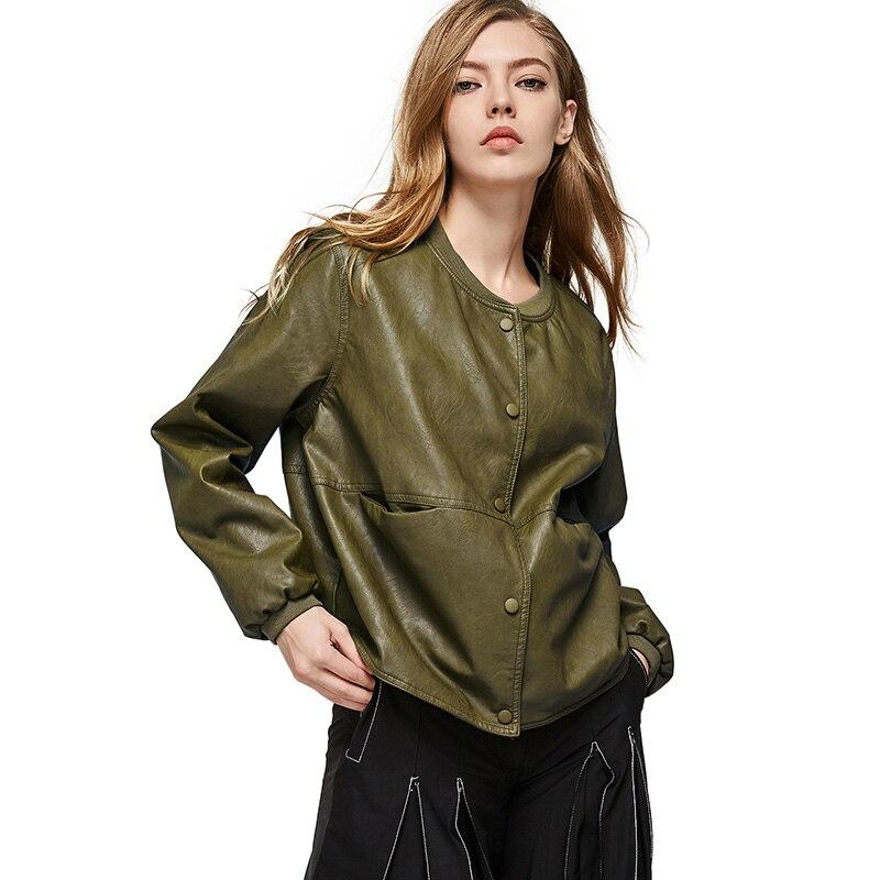 1552c2ed47 US $27.99 40% di SCONTO|ESCALIER Autunno Donne Giacca di Pelle Casual  Button Manica Lunga Slim giacche di Base 2018 di Modo di Cuoio DELL'UNITÀ  di ...