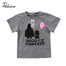 Pudcoco/новая футболка принцессы с надписью Топ для новорожденных девочек серая футболка с короткими рукавами детский пуловер для девочек хлопковые разноцветные футболки