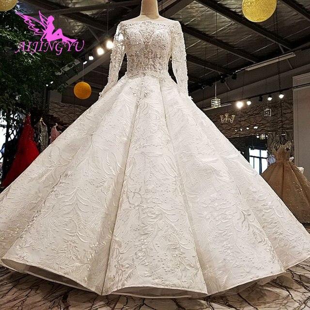 AIJINGYU Pakistanischen Hochzeit Kleider Kleider Nähen Auf Kristall Perlen Erschwinglichen Kleid Geschäfte Hochzeit Kleid Spitze