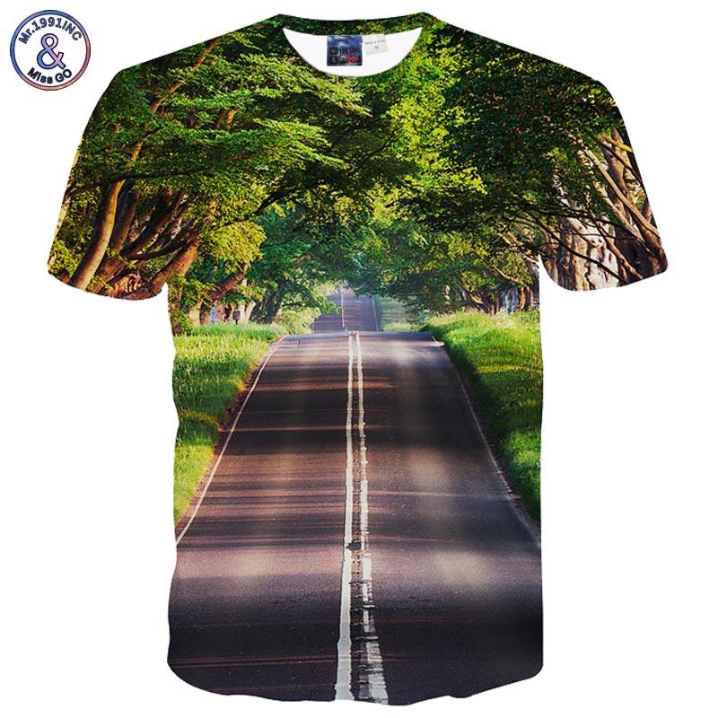 Mr.1991INC Beau Paysage T-shirt pour hommes/femmes 3d t-shirt impression vert arbres et propre route casual tops t-shirts t-shirt livraison gratuite