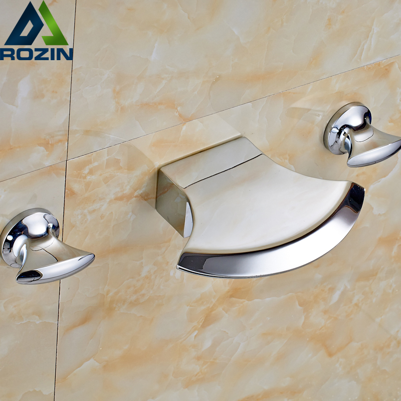 Wall Mounted Polished Chrome Brass Basin Water Faucet Bathroom Dual Handles Torneita Cock free shipping high quality bathroom toilet paper holder wall mounted polished chrome