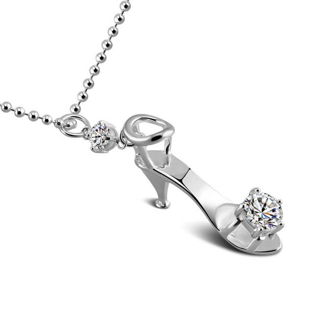 Aliexpress buy fashion high heeled shoes pendant fairy tale of fashion high heeled shoes pendant fairy tale of cinderellas glass slipper necklace solid 925 sterling aloadofball Gallery