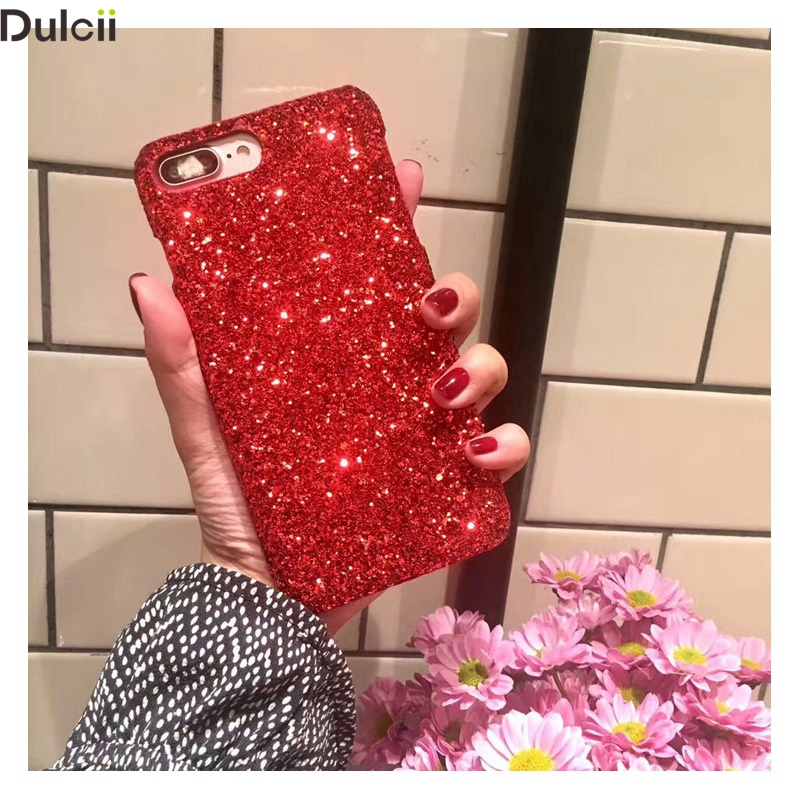 Dulcii New Case Cover for iPhone 7 Plus Shell Glitter Powder Rhinestones Decorated PC Hard Phone Case for iPhone7Plus Mobile Bag