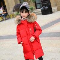 Children Winter Down Jacket 2018 Girls Winter Coat Long Thicken Parka real fur Winter coat for kids Teenage Ski suit 8 10 12Year