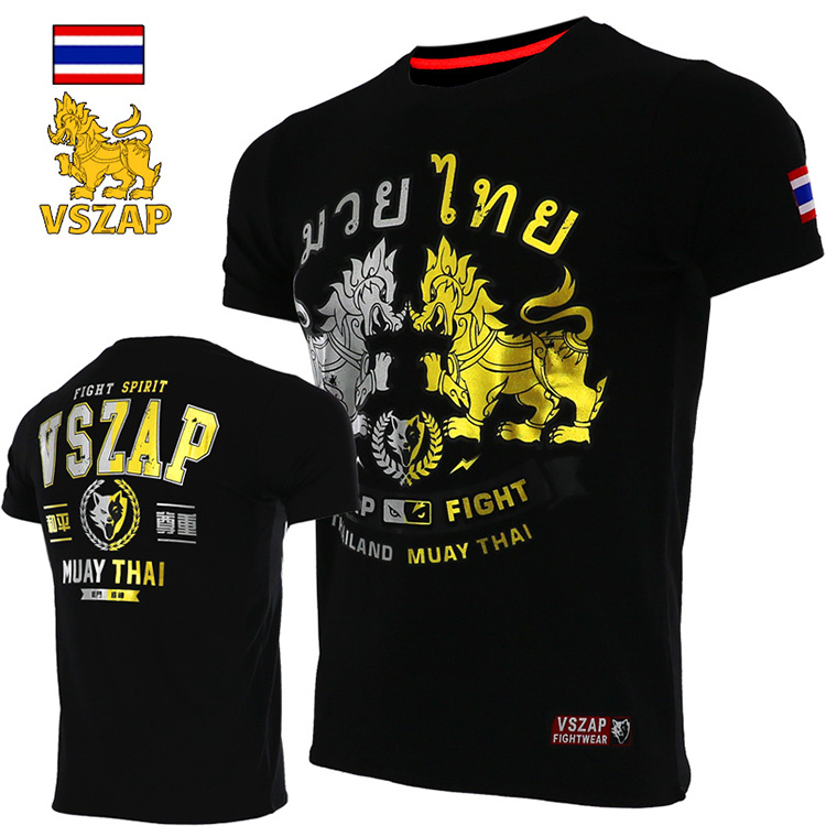 VSZAP Fight Popular Logo MMA Kirin Fight Sports Training Coyote Short Sleeve T Shirt Fitness Quest Muay Thai  Muscle