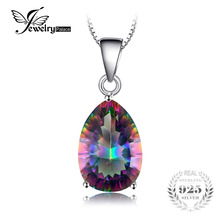 JewelryPalace 4ct Genuine Multicolor Rainbow Fire Mystic Topaz Pendant Pear Real Pure 925 sterling Silver Brand New For Women