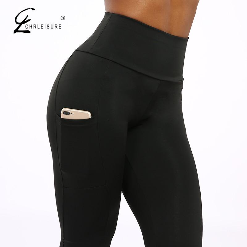 CHRLEISURE Push Up Fitness Leggings mujeres de alta cintura de entrenamiento Legging con bolsillos Patchwork Leggins Pantalones mujer Fitness ropa