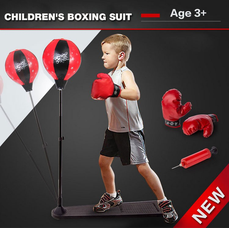 ФОТО Kids Boxing Training Stand Speed Ball Punching Muaythai equipment Body Building Reduced Pressure Leisure Toys with Gloves