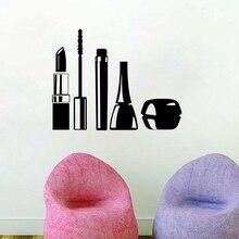 Beauty Salon Cosmetics Wall Art Decals Makeup Vinyl Wall Sticker For Girls Room/ Living Room Mural Decor