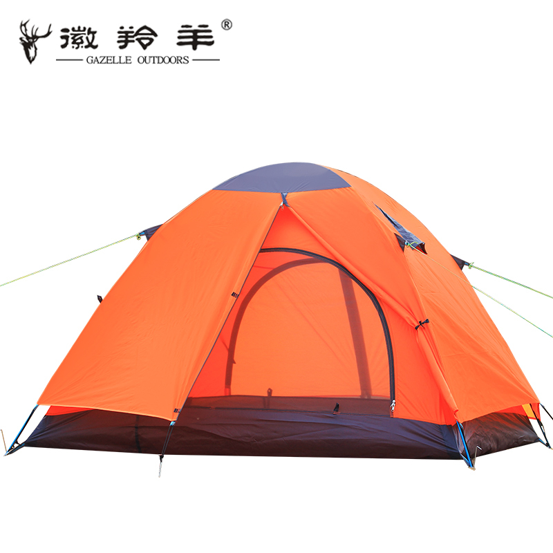 Emblem antelope quality aluminum pole double double layer waterproof  wind resistance ultralight portable camping tent high quality outdoor 2 person camping tent double layer aluminum rod ultralight tent with snow skirt oneroad windsnow 2 plus