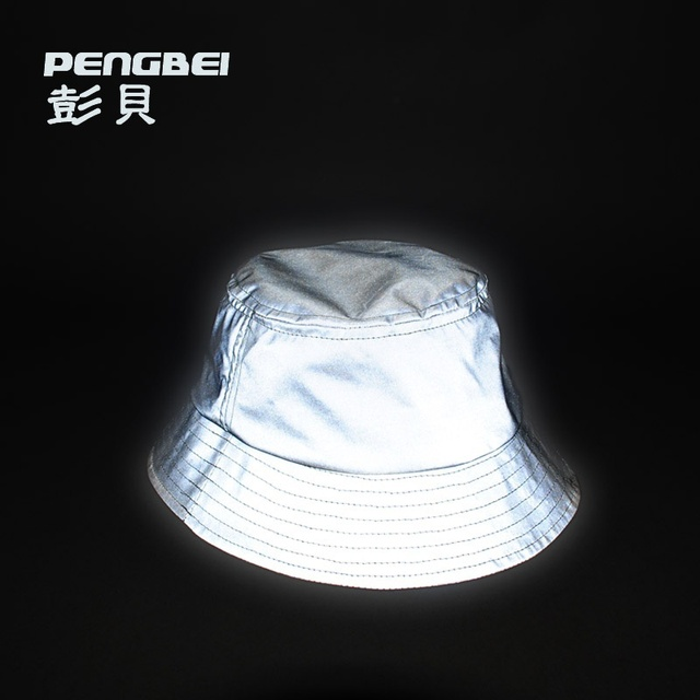 d80003813e6d1 2016 nuevo hip hop deporte marea marca 3 m reflectante sombrero del cubo  cubo de cuero