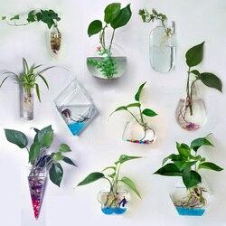 Criativo parede pendurado flor verde planta vaso multi-purpose de vidro transparente recipiente hidropônico decoração para casa vaso de flores