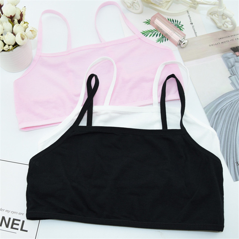 1pc Teenage Underwear For Girl Children Girls Cotton Lace Wireless Young Training Bra For Kids And Teens Puberty Clothing 1pc solid training bra underwear cotton teenage bra for girl running yoga bra for girl sports training girl underwear sports bra