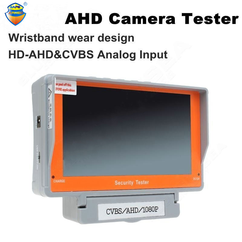 1Sset Free Shipping 5 Inch HD AHD Camera Tester Wristband CCTV Tester Monitor 1080P/720P AHD Analog Camera Test Audio 12V-Output