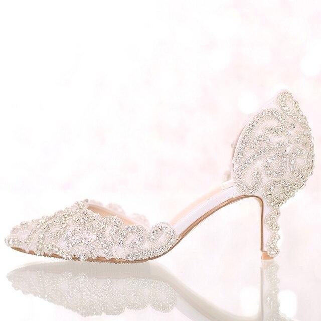 Dream cuicanduomu Rhinestone Wedding Shoes High Heels Pointed Toe Bridal  Shoes Elegant Thin Heels Female Wedding 36cb868afbbf