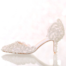 Dream cuicanduomu Rhinestone Wedding Shoes High Heels Pointed Toe Bridal Shoes Elegant Thin Heels Female Wedding Shoes 7CM Pumps