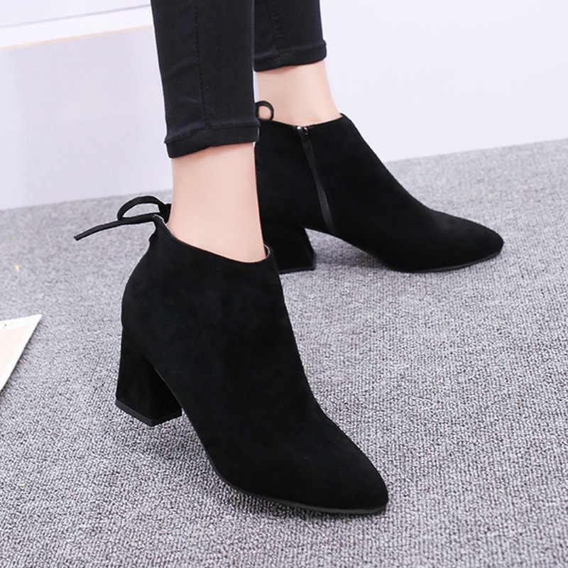 2019 ใหม่ผู้หญิงรองเท้าหนังนิ่ม Flock รองเท้าผู้หญิงฤดูหนาวรองเท้าผู้หญิงรองเท้าส้นสูงผู้หญิงผ้ายืดรองเท้าใหญ่ขนาด 34-40