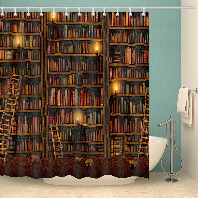 Retro Book Shelf Ladder Shower Curtains Waterproof Bathroom Curtains Polyester 180x180cm Decoration Toilet With Hooks