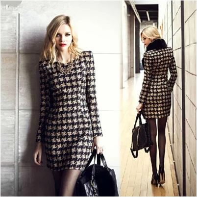 Fashion Plus Size Women Long Sleeve Plaid Dress Vintage 50s Dresses