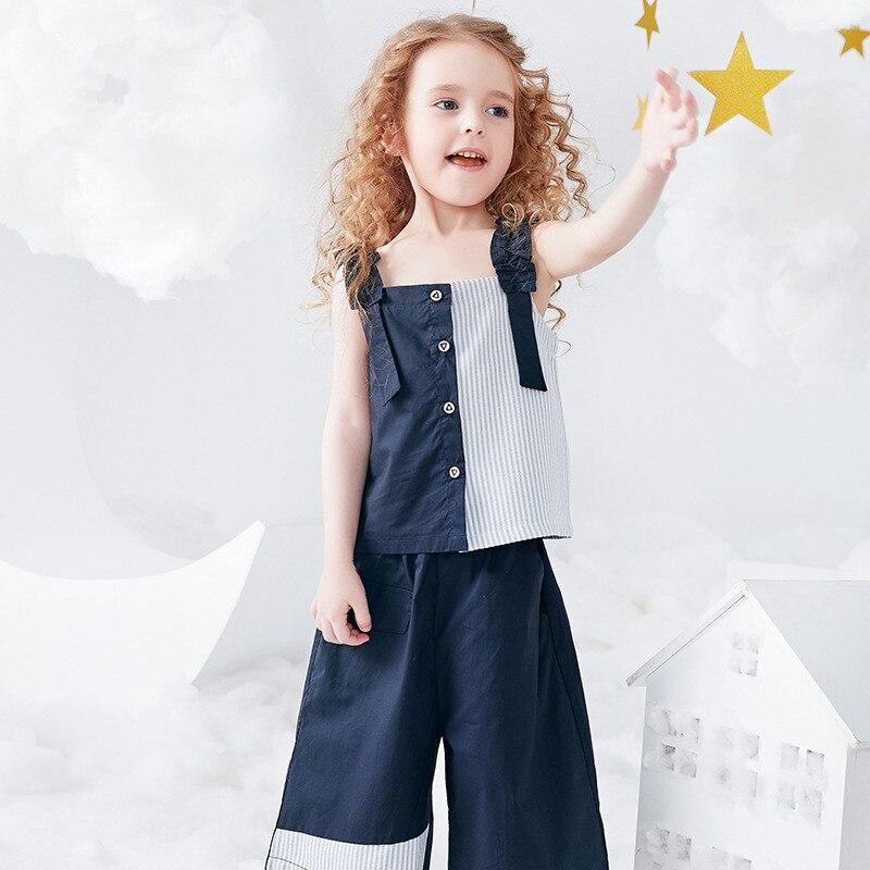 Fille nouveau costume jarretelle haut et costume court mode été ensemble 2019 nouveau bébé costume deux pièces pantalon