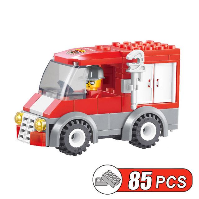 85pcs/set Rescue Fire Truck DIY Building Blocks Toy