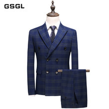 Mens Double Breasted Suits Spring Autumn S-5XL Groom Wedding Suit 3 Piece Blue Plaid Suit Business Formal Wear(China)