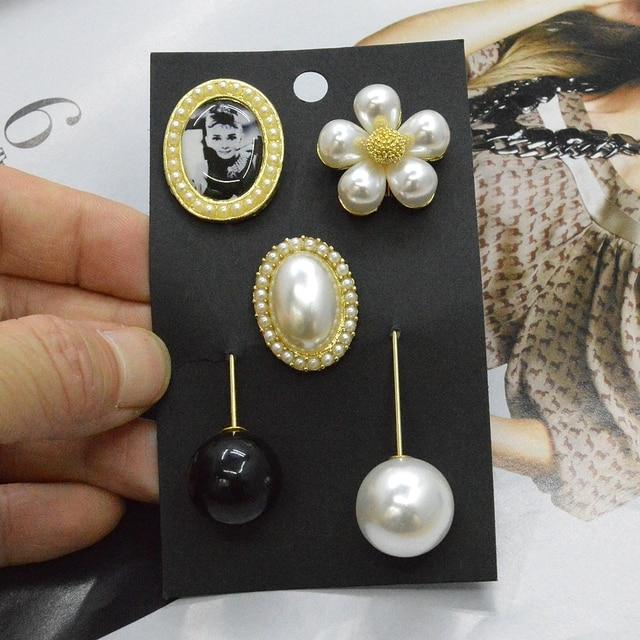 2016 Elegant Lady Audrey Hepburn Black Bead Pearl Trendy Brooch Fashion Jewelry Clothing Apparel Accessory Bag Decoration