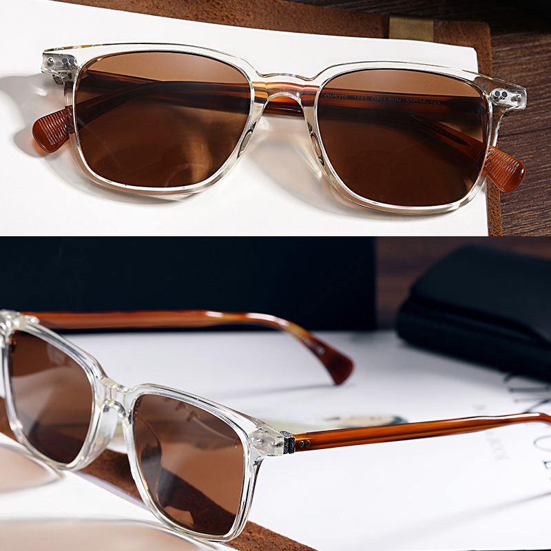 OV5316 Vintage  Polarized Sunglasses Driving Eyeglass Men And Women  Retro Clear Square Anti-UV400 Sun Glasses Holder With Case