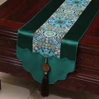Ретро нефрит Роскошный натуральный шелк атласный настольный бегун лоскутное обеденный стол коврик высокого класса журнальный столик ткан