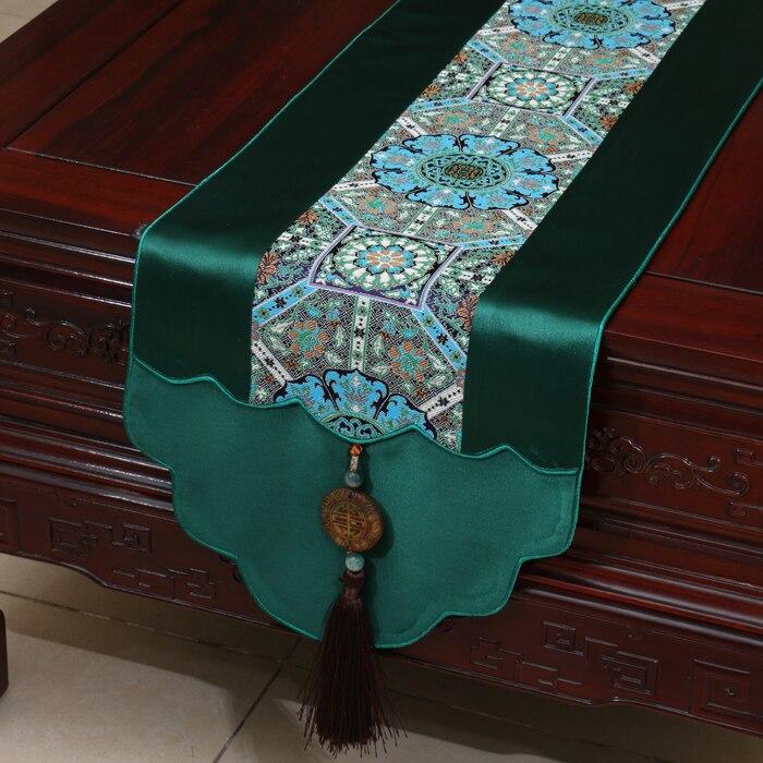Retro Jade Luxe Natuurlijke Zijde Satijn Tafelloper Patchwork - Thuis textiel