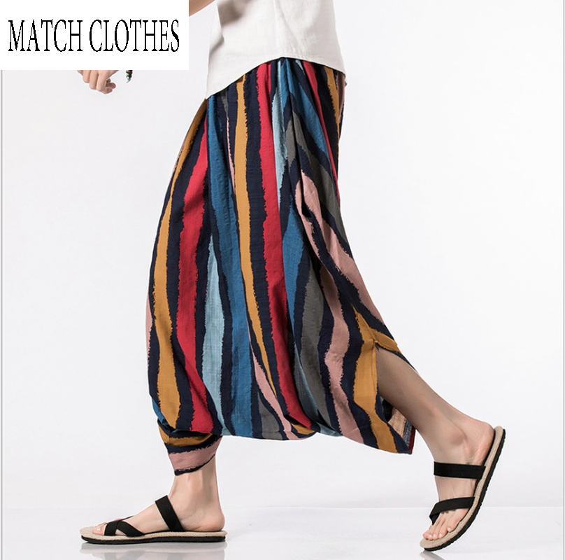 Men Women Wide Leg Trousers New Casual Pants Cross-pants Hip Hop Aladdin Hmong Baggy Cotton Linen Harem 2019