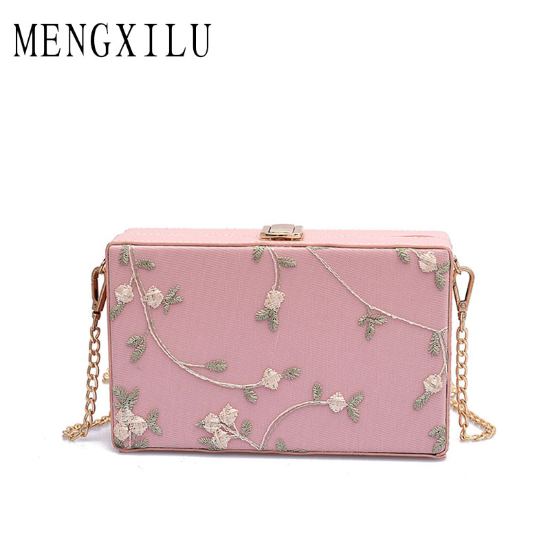 MENGXILU Embroidery Messenger Bags Women Crossbody Bag Lady Box Woman Bags Handbags Women Famous Brand Designer Chians Sac 2018