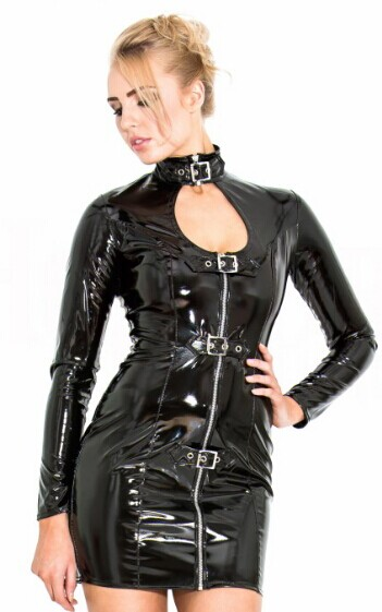 long sleeve buckle neck pvc short dresses zip up to bust