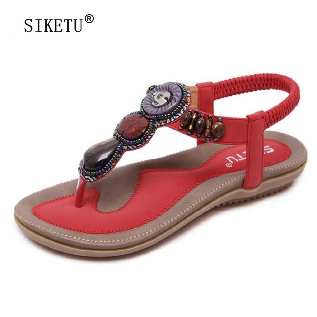 SIKETU New Women s Flat Bohemia Sandals Vintage Ethnic String Beaded  Gladiator Sandals For Women Ladies Casual Flip Flops 49ee64a0b109