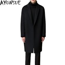 AYUNSUE, Новое поступление, зимнее длинное шерстяное пальто, мужские парки, Тренч, пальто для мужчин, S-3XL, Abrigo de lana hombre LX774