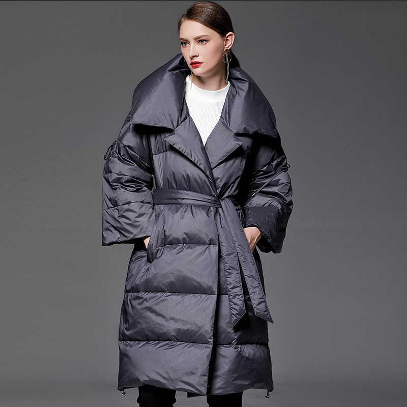 Женская куртка с отложным воротником YVYVLOLO, модная свободная парка, зимнее пуховое пальто, теплая плотная куртка, 2019