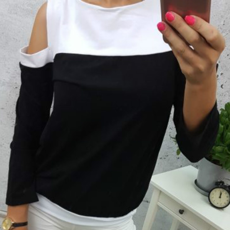 Casual 2018 New Womens T-Shirts Top Long Sleeve Patchwork T Shirt Tee Plus Size Female Sexy Off Shoulder Sping Women Top GV313