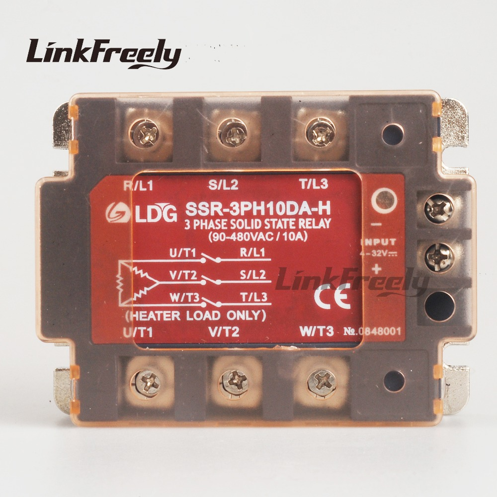 SSR-3PH10DA-H 2pcs LED Three Phase AC Solid State Relay 10A 220V Output:90-480VAC DC to AC SSR Relay Input: 5V 12V 24V Relay dc 3 5v 12v mini relay 2 receiver