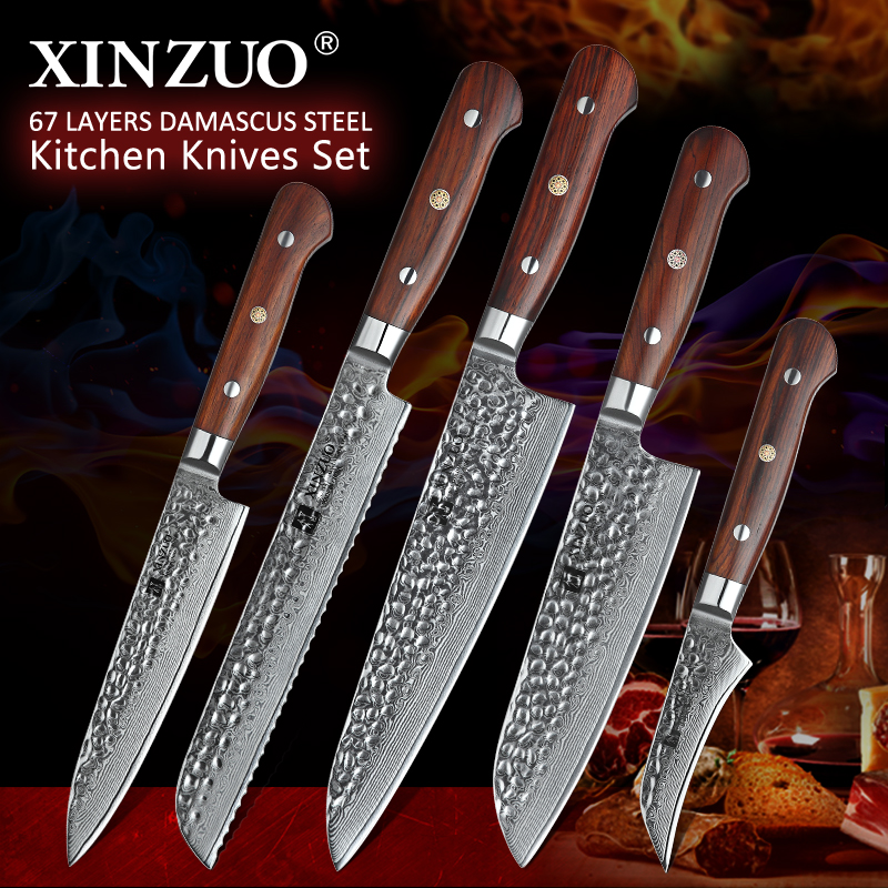XINZUO Kitchen Knives Set Damascus Veins Stainless Steel Paring Utility Santoku Slicing Chef Cooking Knife Rosewood