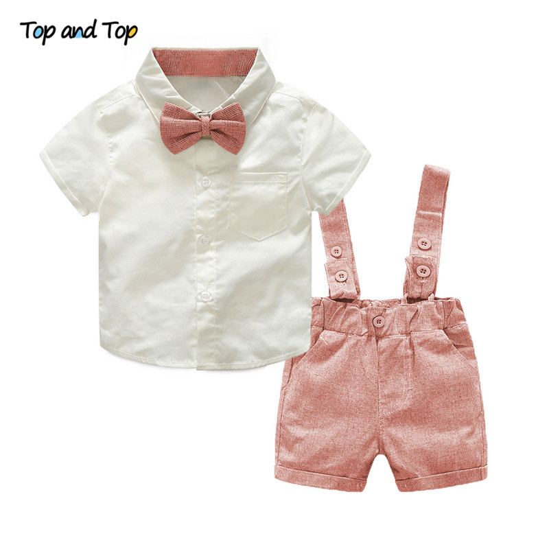 Top and Top Formal Geltleman Baby Clothing Set Short Sleeve Tie Shirt+Suspenders Shorts Casual Wedding Party Birthday Outfits knot front tie dye top with shorts