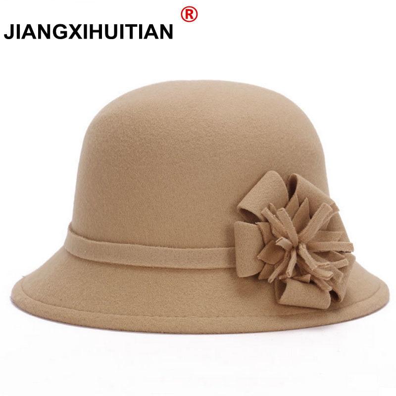 2017 Hot Vogue Ladies Women Vintage Imitation Wool Rose Flower Felt Fedora Hat Fall Winter Cloche Bucket Cap Dome 6 Color