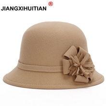 3de23d76619 2017 Hot Vogue Ladies Women Vintage Imitation Wool Rose Flower Felt Fedora  Hat Fall Winter Cloche Bucket Cap Dome 6 Color