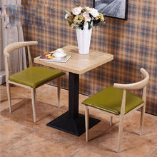 Imitation wood wrought iron horn chair western restaurant cafe table and chairs simple dining chair milk tea dessert shop table(China)