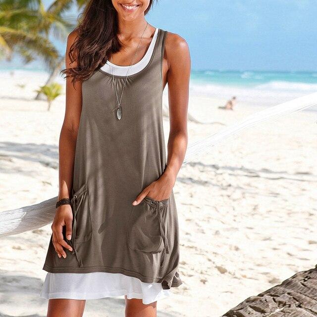 Summer sexy Women Casual dress Plus size 2pcs set A-shirt Dress Sleeveless Short mini Dress beach wear for vacation vestidos