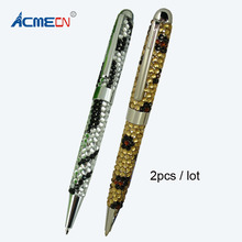2pcs / lot Jewellory Promotion Logo Pen Unique Design Custom Brand Pens Popular Fashion Rhinestone Ballpoint Office Writing