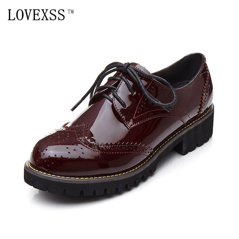 LOVEXSS Genuine Leather Brogue Shoes Black Red Casual Lace-Up Flats 2017 Spring/Autumn Fashion Patent Leather Brogue Shoes keaiqianjin woman genuine leather brogue shoes spring autumn black white flats lace up genuine leather loafers lazy shoes 2017