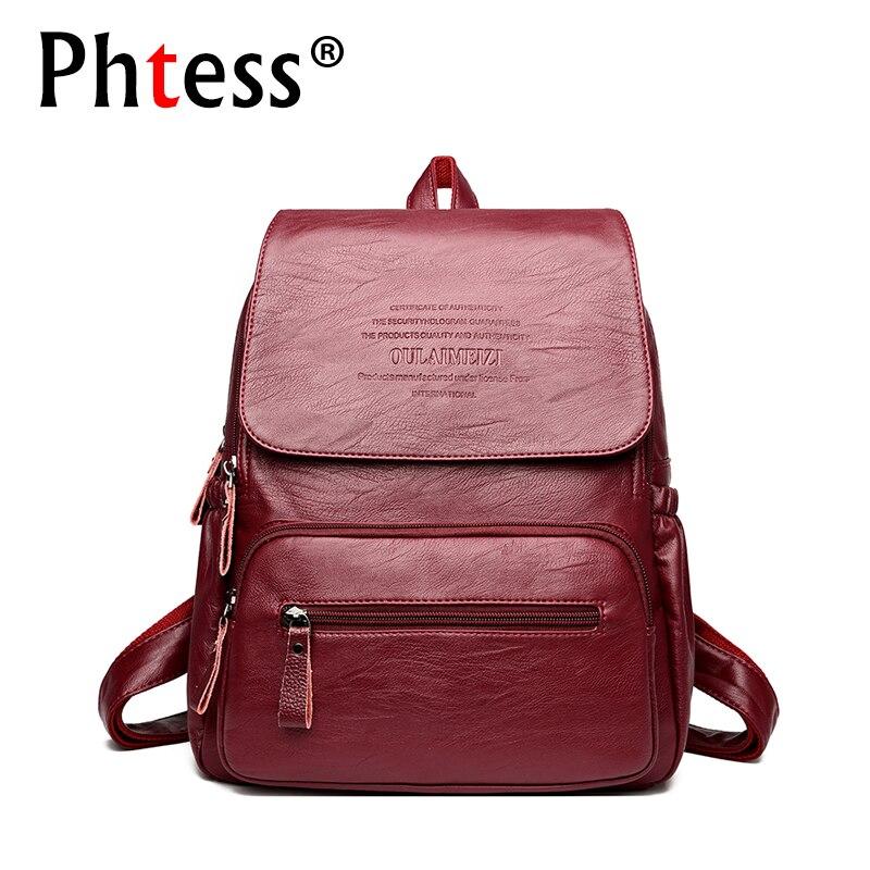 2018 Vintage Leather Backpacks Female Travel Shoulder Bag Mo