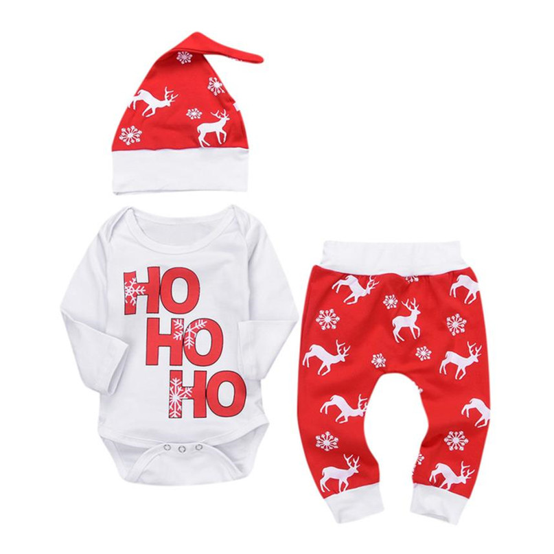 Red Color 2017 Lovely Xmas Newborn Infant Baby Boy Girl Romper Tops+Pants Christmas Deer Outfits Set drop shipped ST28