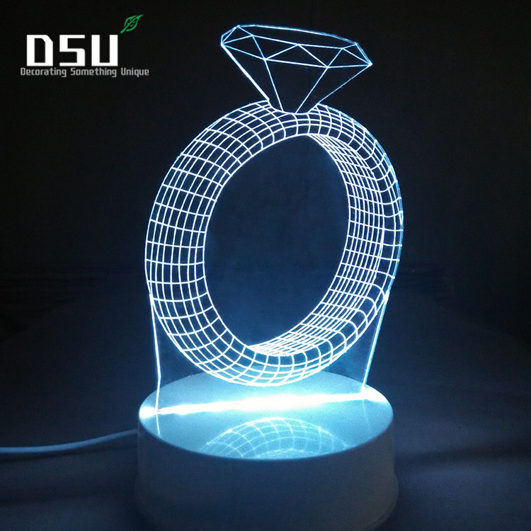 US $14.29 45% OFF|3D Illusion Lamp Diamond Ring Romantic Gift Ideas Night  Lights Led Desk for Her Home Decor Office Bedroom Wedding Decorations-in  LED ...