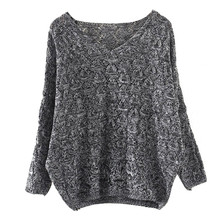 Women's Hollow Out Bat Long Sleeve Loose V Collar Tops Loose Autumn winter 2017 warm knitting Pullovers elastic Femme Tops